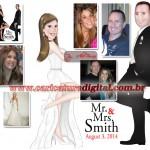 Caricatura dos Noivos Sr. e Sra. Smith em Caricatura Digital