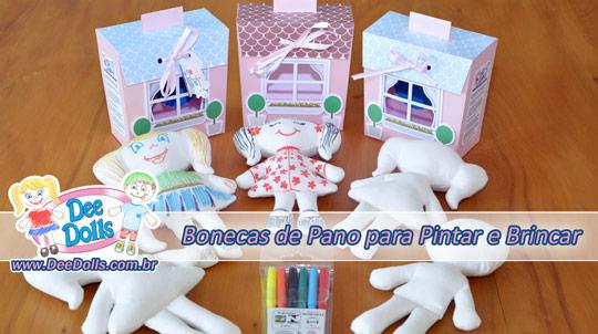 boneca de pano para pintar e lavar