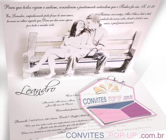 Convite de casamento diferente e personalizado de verdade é com a Convites Pop Up